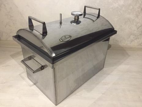 Коптильня, полукруглая крышка, с  термометром и гидрозатвором